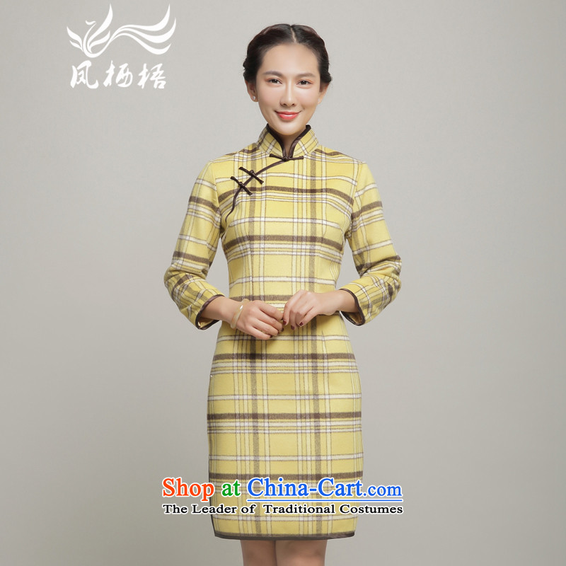 In 7475 migratory Bong-long-sleeved gross? the爊ew winter 2015 qipao improved Stylish retro qipao DQ15257 Sau San yellow燬
