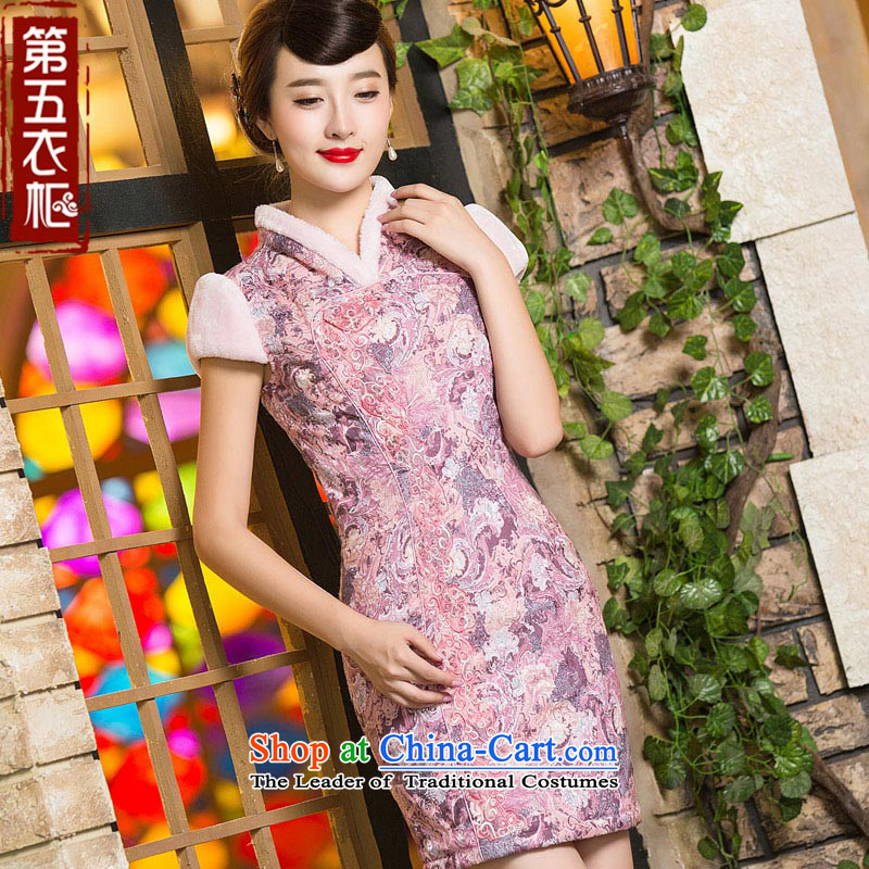 Eason Chan point cheongsam dress 2015 new winter clothing improved stylish saika thick cotton short of the Sau San folder graphics thin female dresses pink�L