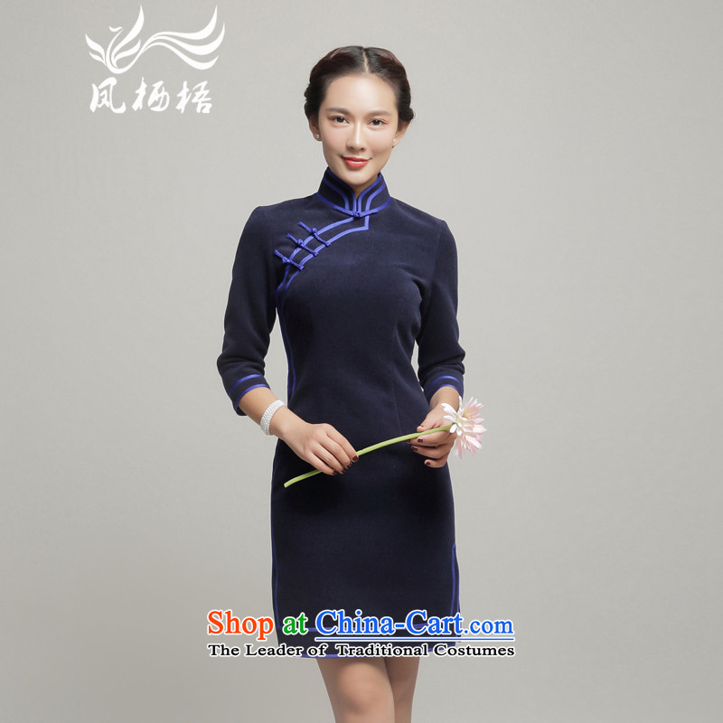 Bong-migratory 7475 2015 autumn and winter new gross? the daily life of Qipao long-sleeved thick gross qipao gown skirt DQ15258? deep blue?XL