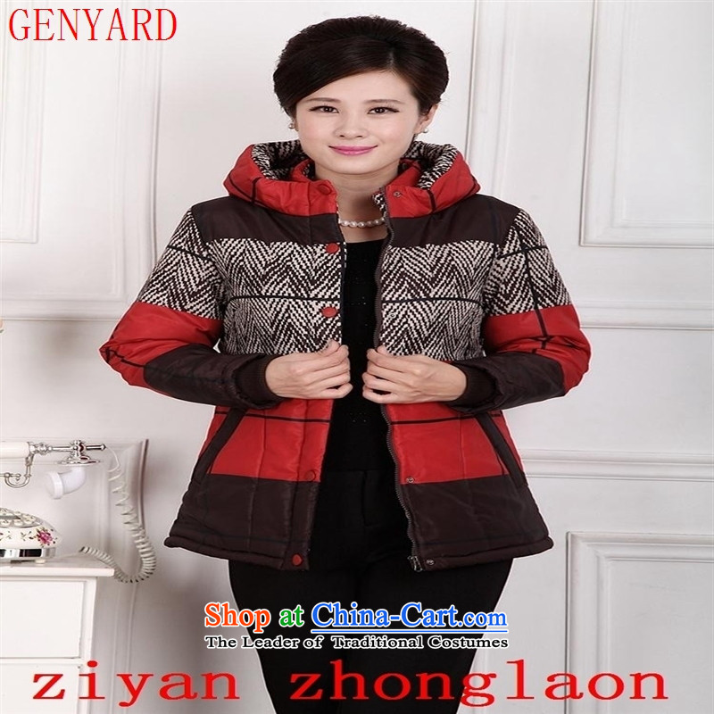 Deloitte Touche Tohmatsu trade shop 2015 autumn and winter in the new Elderly Women cotton robe Winter load mother coat large middle-aged women new thick short, cotton coat of red?XXL