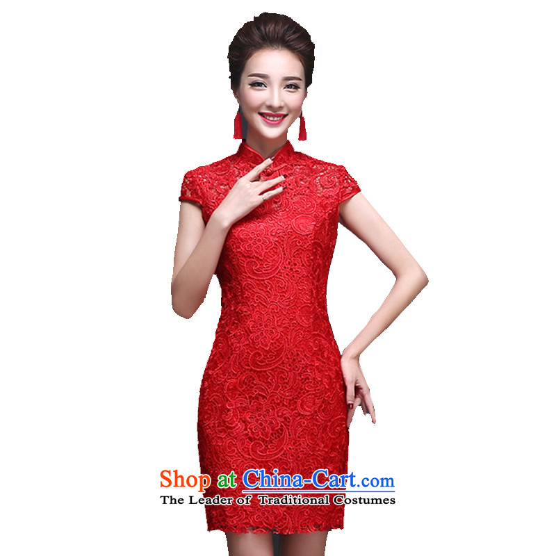 The bride wedding dress uniform qipao skirt red bows Stylish retro lace Sau San evening dress collar short-sleeved short�M