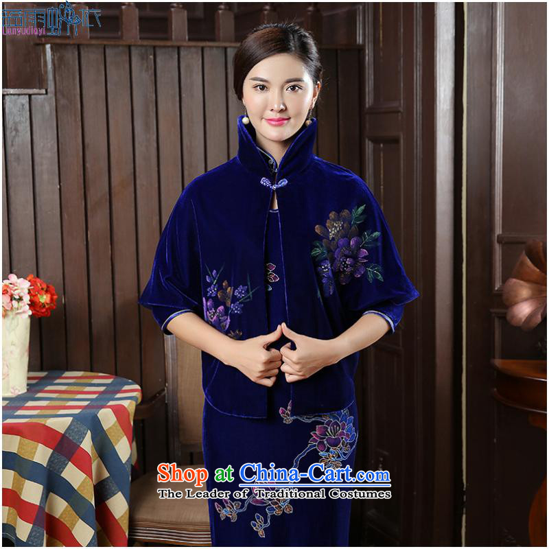 2015 with velvet shawl Tang dynasty and contemptuous of Mudan frock coat shirt with improved cheongsam, FZ BLUE?XXL