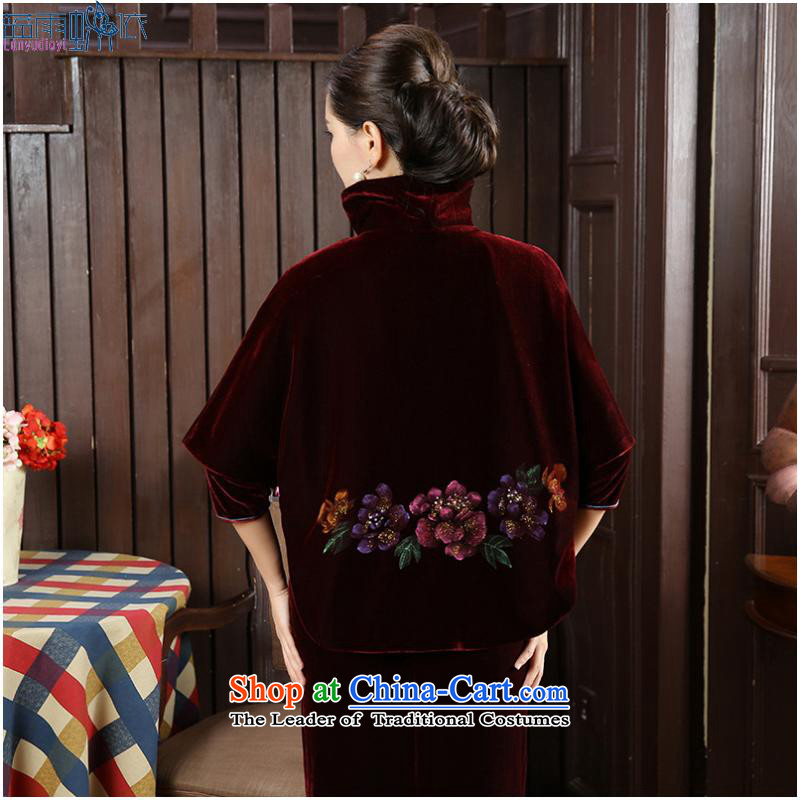 2015 with velvet shawl Tang dynasty and contemptuous of Mudan frock coat shirt with improved cheongsam, FZ聽XXL, blue blue rain butterfly according to , , , shopping on the Internet