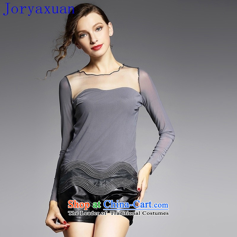 Deloitte Touche Tohmatsu trade shop 2015 Autumn, gauze, forming the elastic shirt European Sites   stylish new, long-sleeved autumn terrace back women YN11 GRAY?M