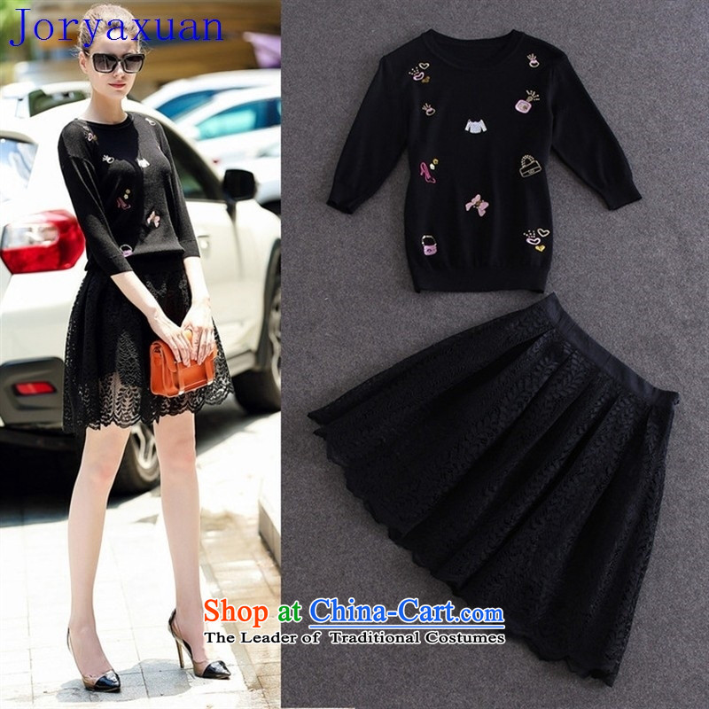 Fine Shops 2015 Autumn Deloitte Touche Tohmatsu, load the new Europe and the autumn women in Pearl nail embroidered cuff knitting sweater + lace half skirt kit red?S