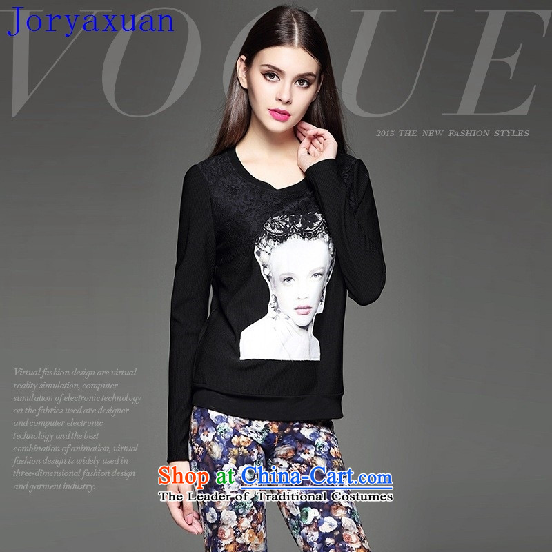 Deloitte Touche Tohmatsu Trade Shop Boxed autumn 2015 Autumn, a new women's personality silhouette lace flower stitching Sau San wild black T-shirt�L�black�M