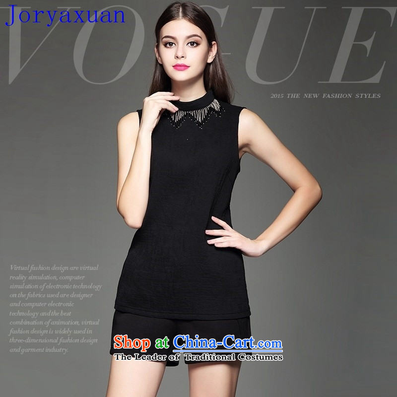 Deloitte Touche Tohmatsu trade shop in Europe at the autumn 2015 autumn and winter female new western minimalist heavy industry beaded decorated Sau San video thin black sleeveless shirt燲L