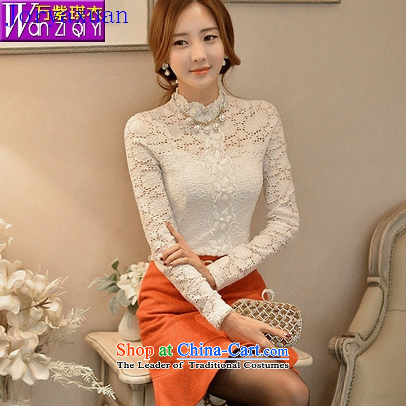 Deloitte Touche Tohmatsu trade shop in Europe at the autumn 2015 Autumn new European and American women wear shirts lace manually set the Pearl River Delta engraving shirt lace white聽L