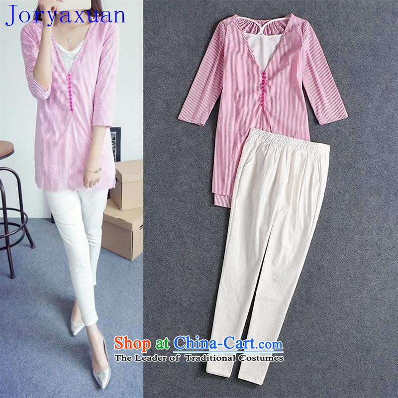 Fine Shops 2015 Autumn Deloitte Touche Tohmatsu, load the new Europe and the Autumn Female European station toner bars shirt white waistcoat white linen pants outfit three piece B0 figure�S