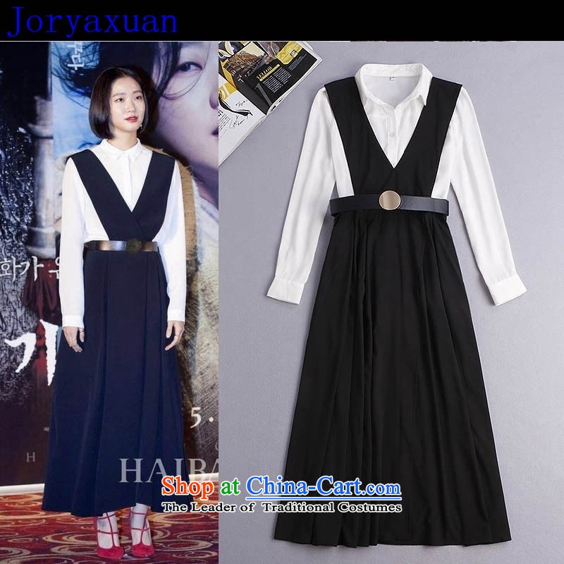 Deloitte Touche Tohmatsu Trade Shop Boxed autumn 2015 Autumn) new strap long skirt long sleeved shirt + 2 piece dresses fall inside the girl?Y34G4?picture color?L