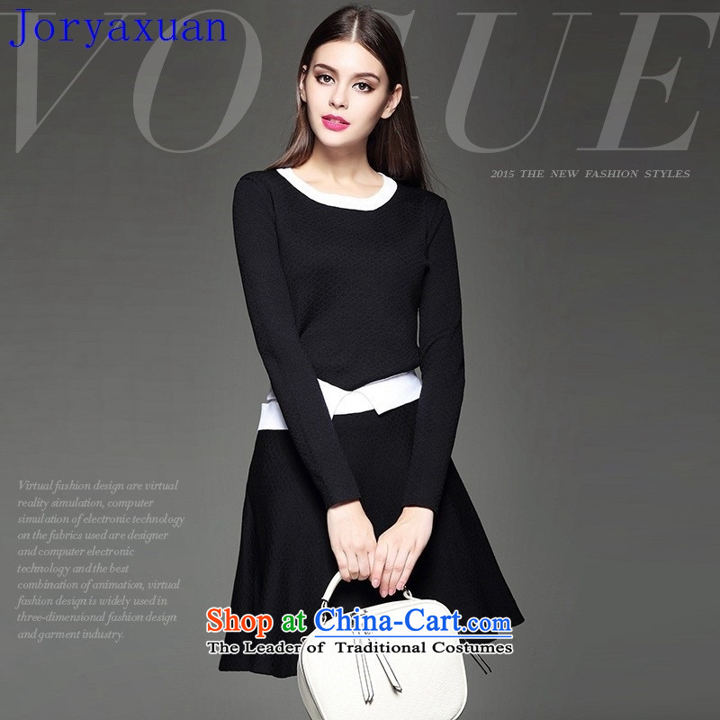 Deloitte Touche Tohmatsu trade shop in Europe at the autumn 2015 autumn and winter new products in Europe women minimalist personality knocked color leisure knitting short skirt kit _two black?M