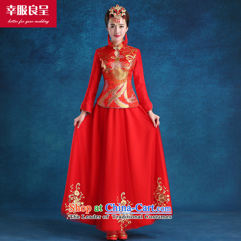 The privilege of serving the bride-leung wedding dress bows to the new 2015 qipao autumn and winter traditional red wedding dress, long-sleeved girl�S