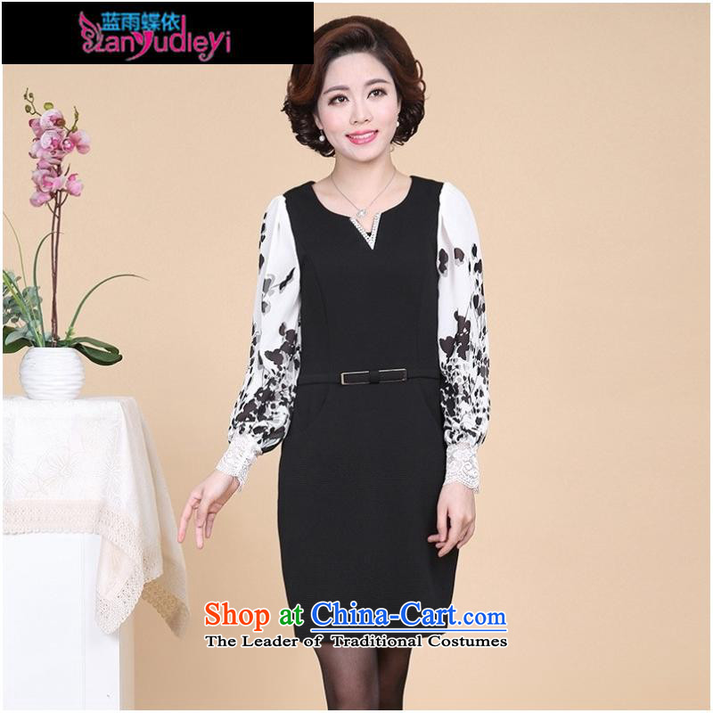 September Girl Store _ 2015 Autumn new dress_ elderly ladies casual long-sleeved XL MOM pack black skirt聽L