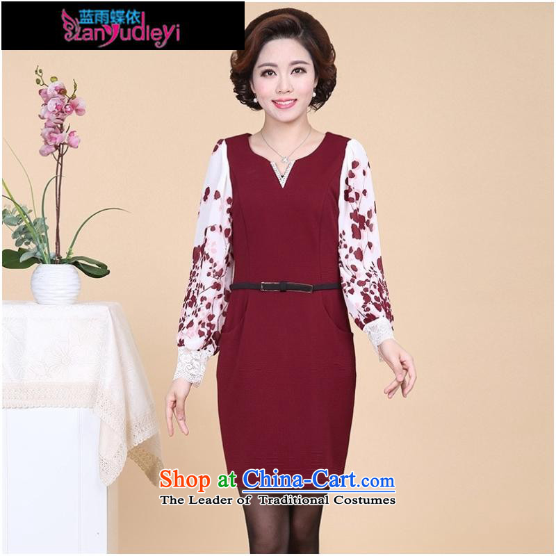 September Girl Store * 2015 Autumn new dress) elderly ladies casual long-sleeved XL MOM pack dresses black聽, L, blue rain butterfly according to , , , shopping on the Internet