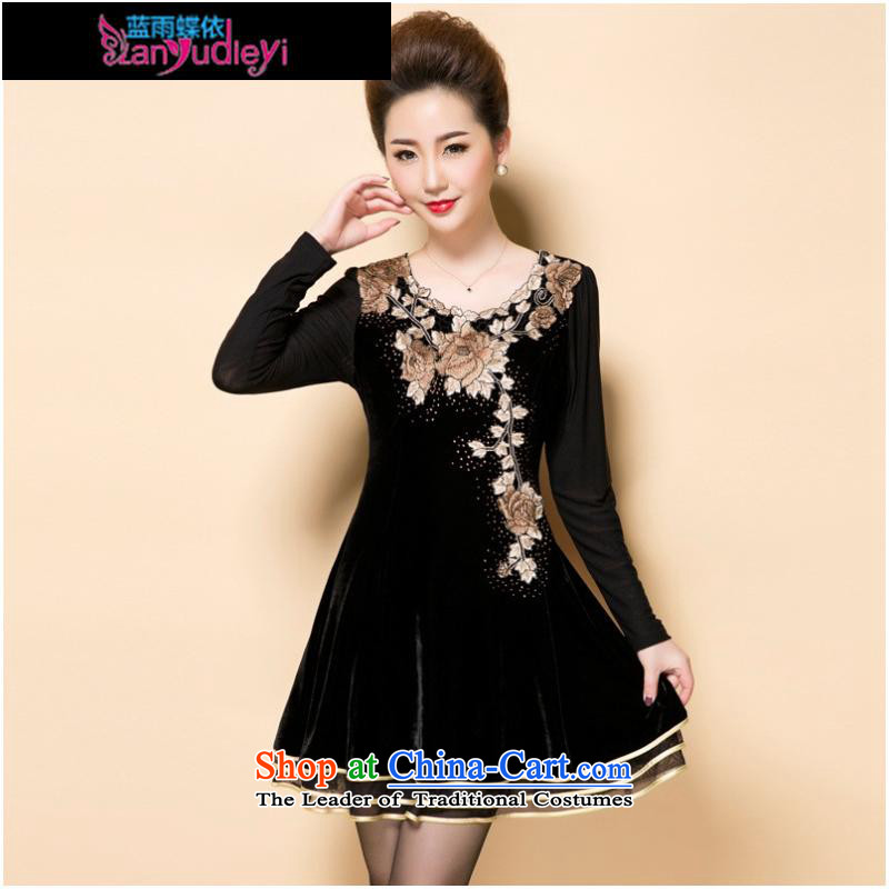 September Girl Store * Apparel Pack new autumn 2015 mother replacing embroidery embroidery Korean high-end temperament of older Kim scouring pads long-sleeved black skirt聽4XL, blue rain butterfly according to , , , shopping on the Internet