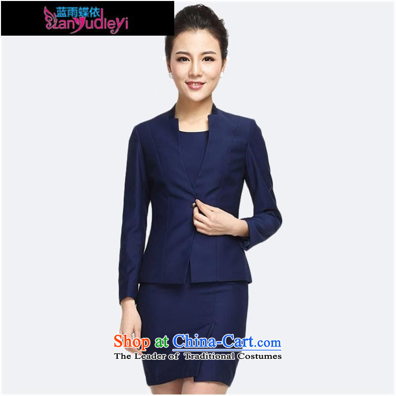September Girl Store * 2015 autumn and winter clothing new products Korean attire long-sleeved jacket, minimalist wild jacket blue jacket + dresses?L