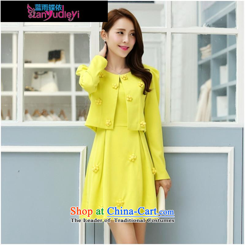 September Girl Store * Apparel Pack new autumn 2015 Korean version of Sau San video thin temperament long-sleeved round-neck collar two kits dresses female GUYW-PWU Yellow?M