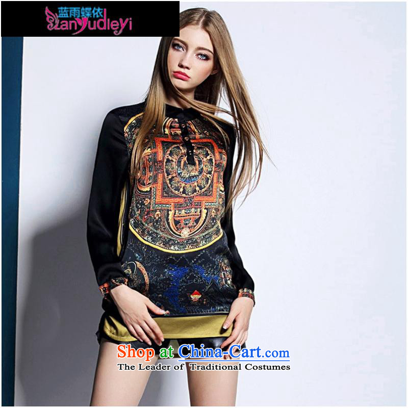 September Girl Store _ dress in Europe 2015 Summer Code women loose T �� retro stitching stamp long-sleeved shirt picture color?M