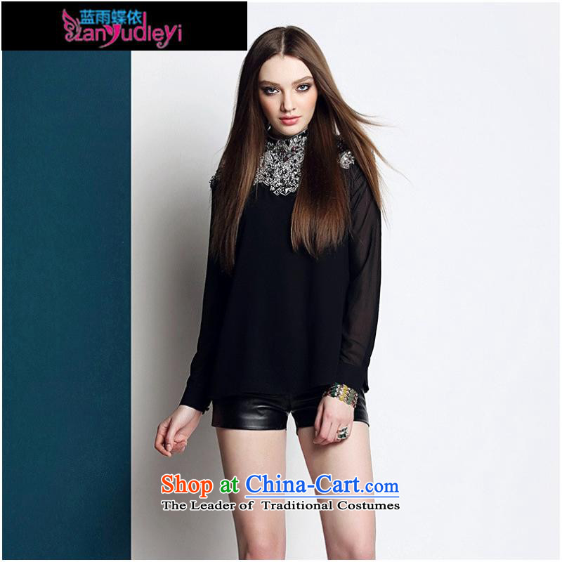 September Girl Store * dress in spring and summer 2015 Women's heavy industry staples black pearl sexy long sleeved shirt shirt T-shirt black?S