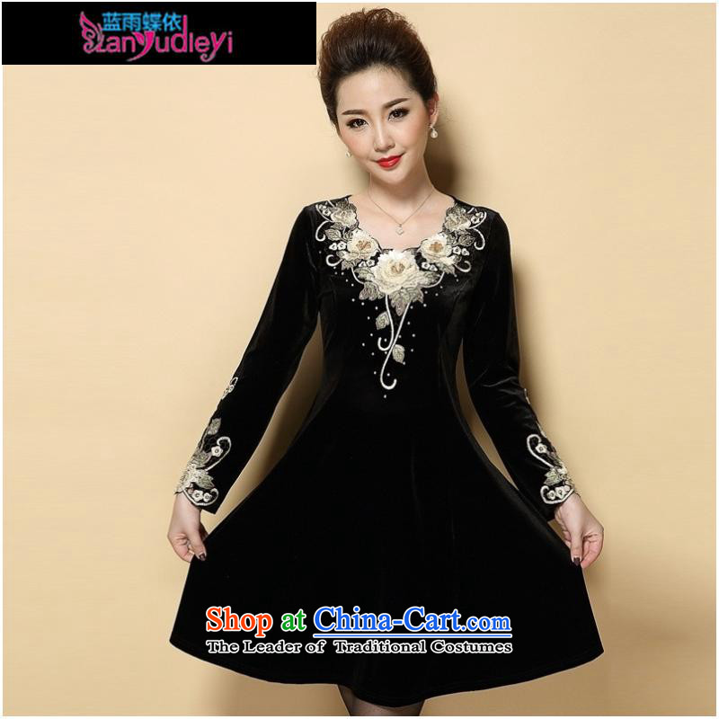 September Girl Store _ 2015 Autumn new dress_ large older embroidery Kim scouring pads long-sleeved Sau San dresses MOM Pack Black Large XXXXL