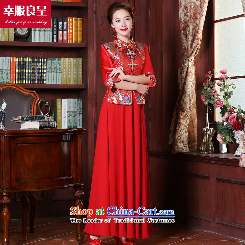 The privilege of serving-leung bows to marry qipao Chinese wedding dress bride red long load costume wedding gown autumn female 7 long-sleeved + model with 26 Head Ornaments M
