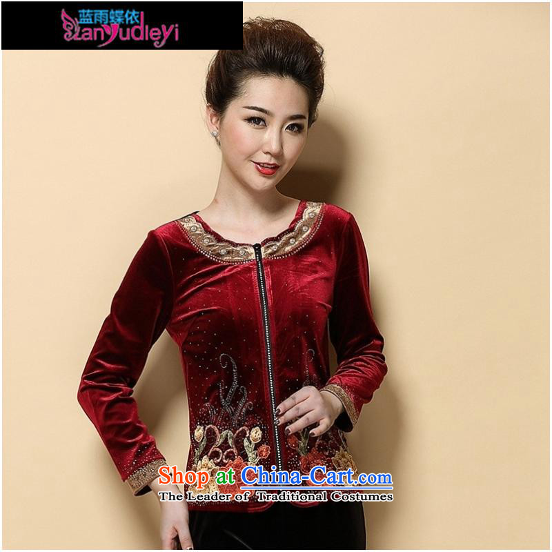 September Girl Store * 2015 Autumn new dress) Older women's gold t-shirt with round collar wool long-sleeved blouses mother wine red?M