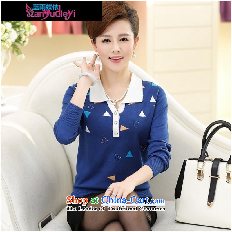 September Girl Store * Apparel Pack new autumn 2015 mother boxed long-sleeved in loose older lady knitted shirts shirt larger lapel forming the Netherlands Blue聽M Blue rain butterfly according to , , , shopping on the Internet