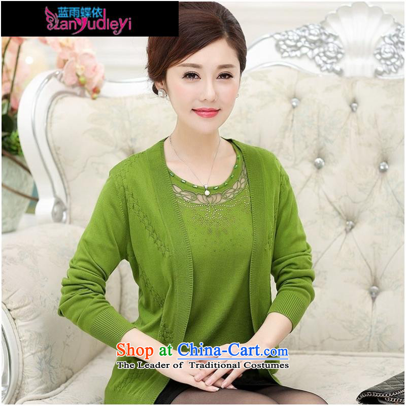 September Girl Store * trappings of older women fall to replace xl long-sleeved Knitted Shirt with solid color true mother two kits Cardigan Orange Red?XL