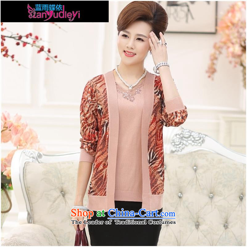 September Girl Store * 2015 Autumn new dress) Older women Knitted Shirt Cardigan really two kits women's long-sleeved sweater with leather powder聽,L,mother blue rain butterfly according to , , , shopping on the Internet