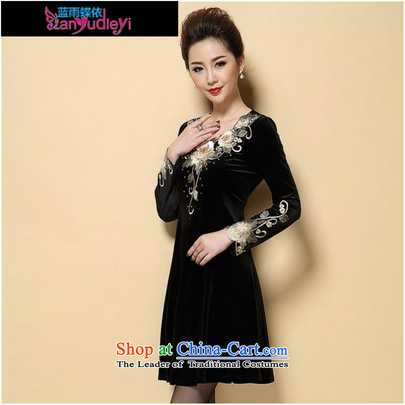September Girl Store _ 2015 Autumn new dress_ large older embroidery Kim scouring pads long-sleeved Sau San dresses MOM Pack Black聽XXL