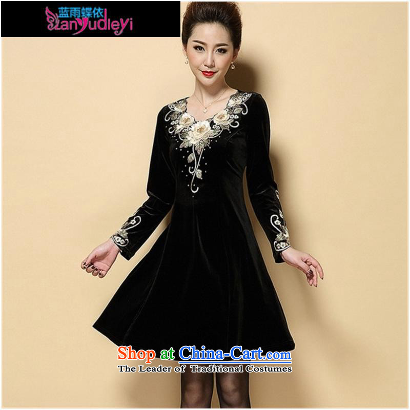 September Girl Store * 2015 Autumn new dress) large older embroidery Kim scouring pads long-sleeved Sau San dresses MOM pack black聽rain butterfly according to blue XXL, shopping on the Internet has been pressed.
