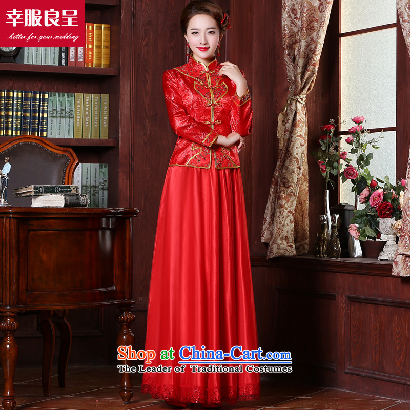The privilege of serving the bride-leung bows services 2015 new boxed cheongsam dress-Soo Choo Wo Long service of Chinese wedding dress red wedding dress female 9 long-sleeved dress + model with 26 Head Ornaments?M