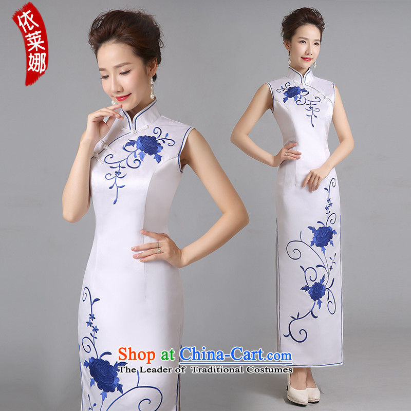 In accordance with the Lena daily qipao 2015 new stylish Sau San long improved retro Chinese wedding dress skirt White燲XL