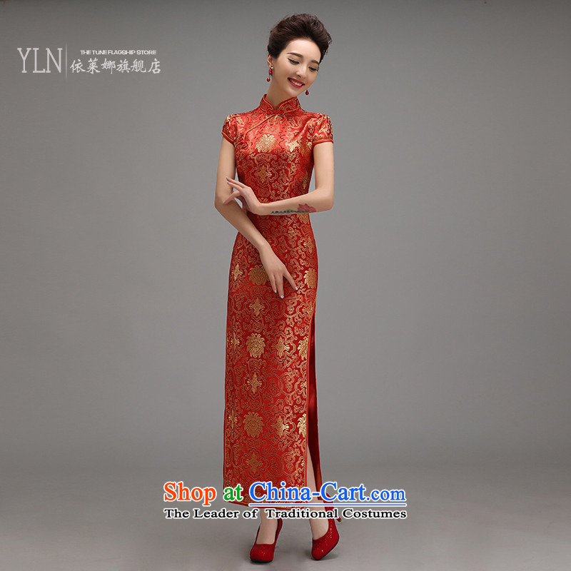 Toasting champagne qipao service wedding dress the new bride Wedding 2015 Long improved retro-day spring and summer Sau San RED?M