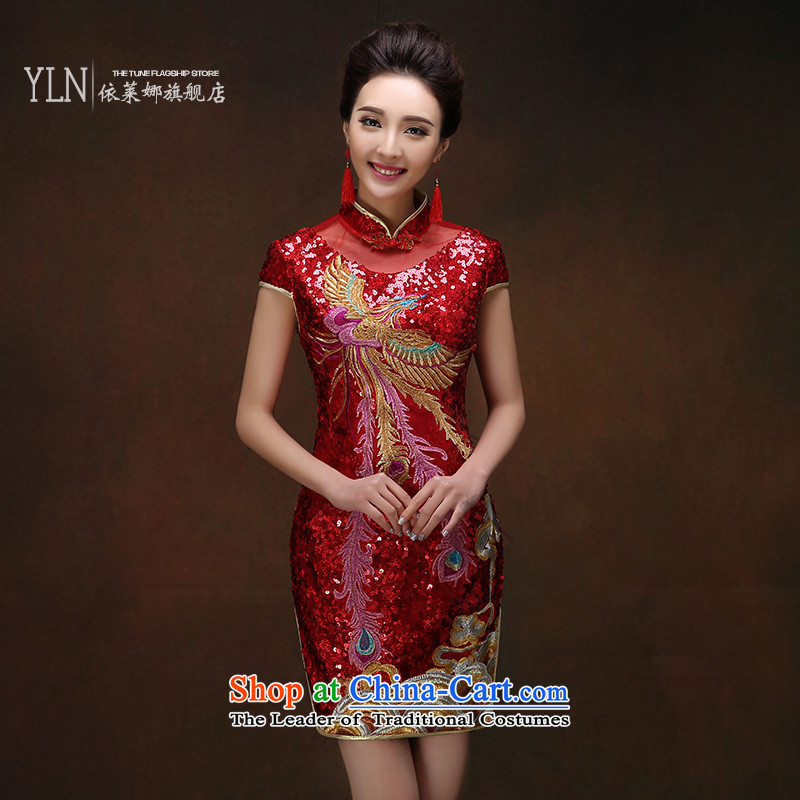 2015 Autumn and winter new marriages bows to red short of qipao lace on chip Sau San cheongsam dress female燤