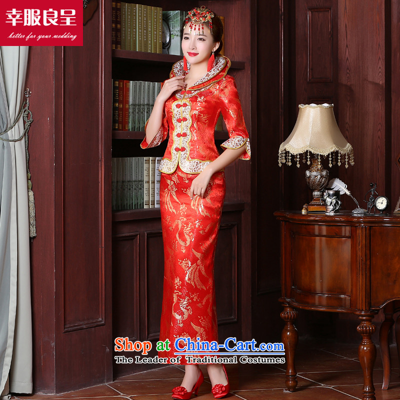The privilege of serving the bride-leung bows to Chinese wedding dresses marriage red large stylish wedding dress code 2015 new autumn and winter long sleeve length of 7 to the establishment of a model with + 68 Head Ornaments燣