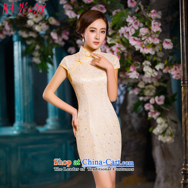 Time the new 2015 Syria qipao champagne color retro-day short skirts, improved qipao cheongsam dress video thin champagne color?XXL