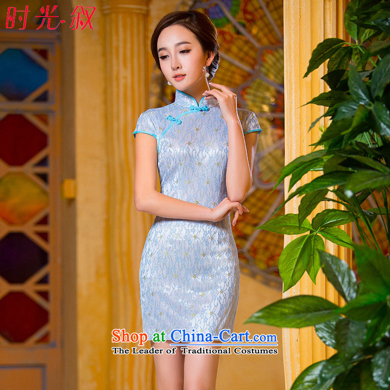 Time the new 2015 Syria qipao light blue retro-to-day short skirts, improved qipao cheongsam dress video thin light blue燣