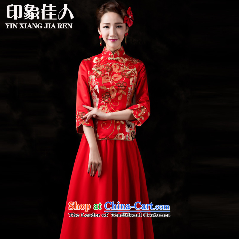 Starring impression wedding dress bows services improved long 2015 qipao autumn and winter new bride long-sleeved Chinese wedding Soo-wo service Tang Dynasty to the dragon use燬