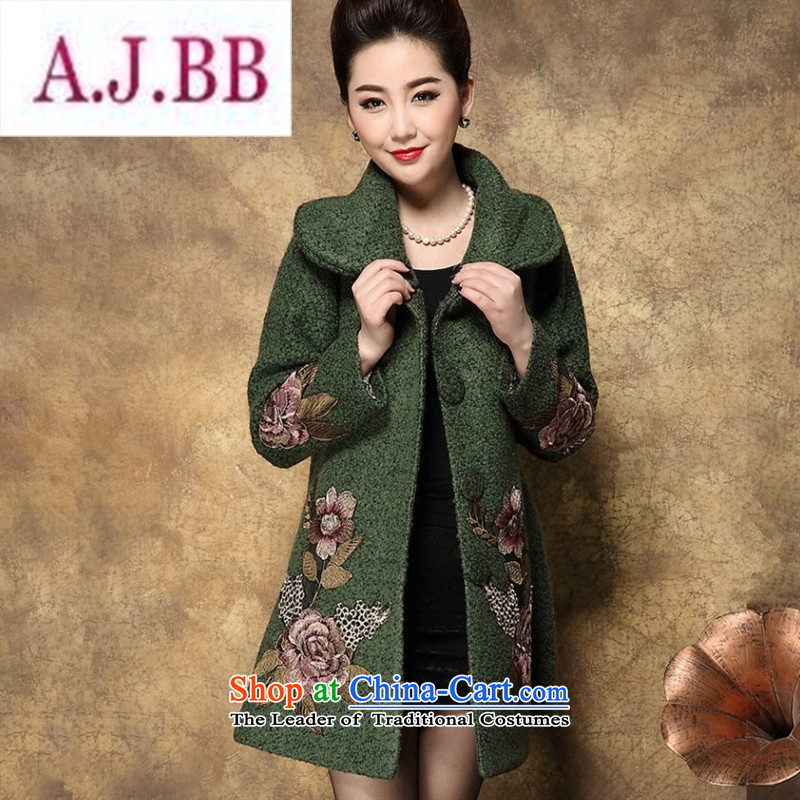 Ms Rebecca Pun and fashion boutiques in 2015 autumn and winter load mother older temperament upscale Cashmere wool coat in the medium to long term, so larger thick black girl燲XXL Windbreaker