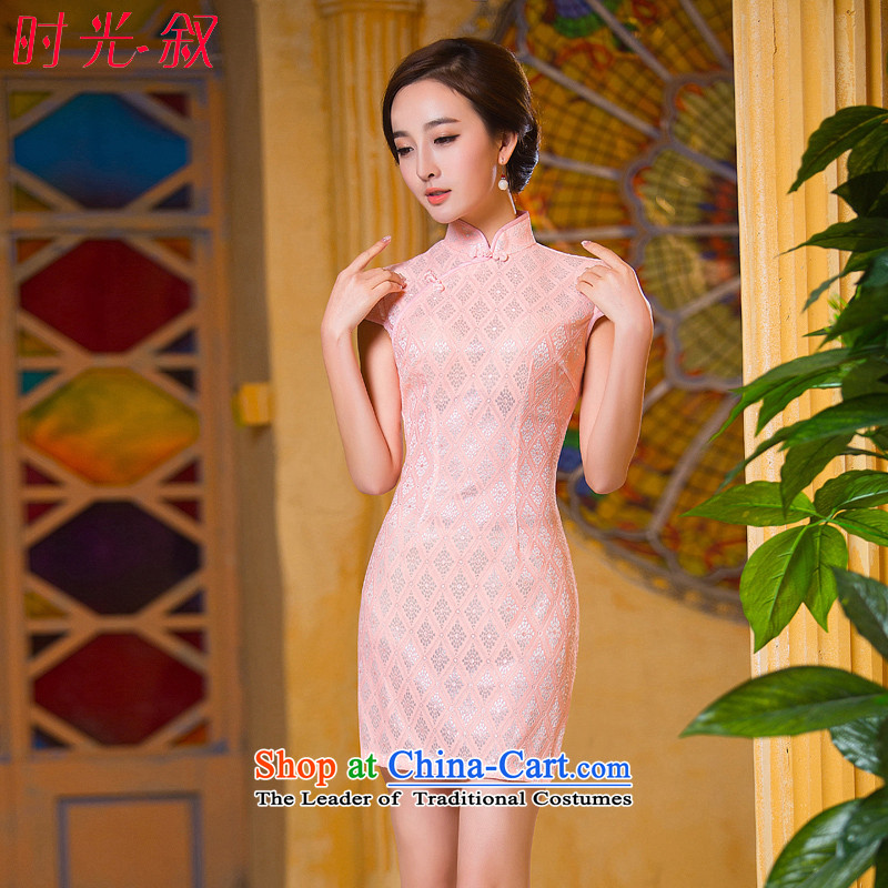 Time the new 2015 qipao Syrian bare pink retro-day short skirts, improved qipao cheongsam dress video thin bare pink?M