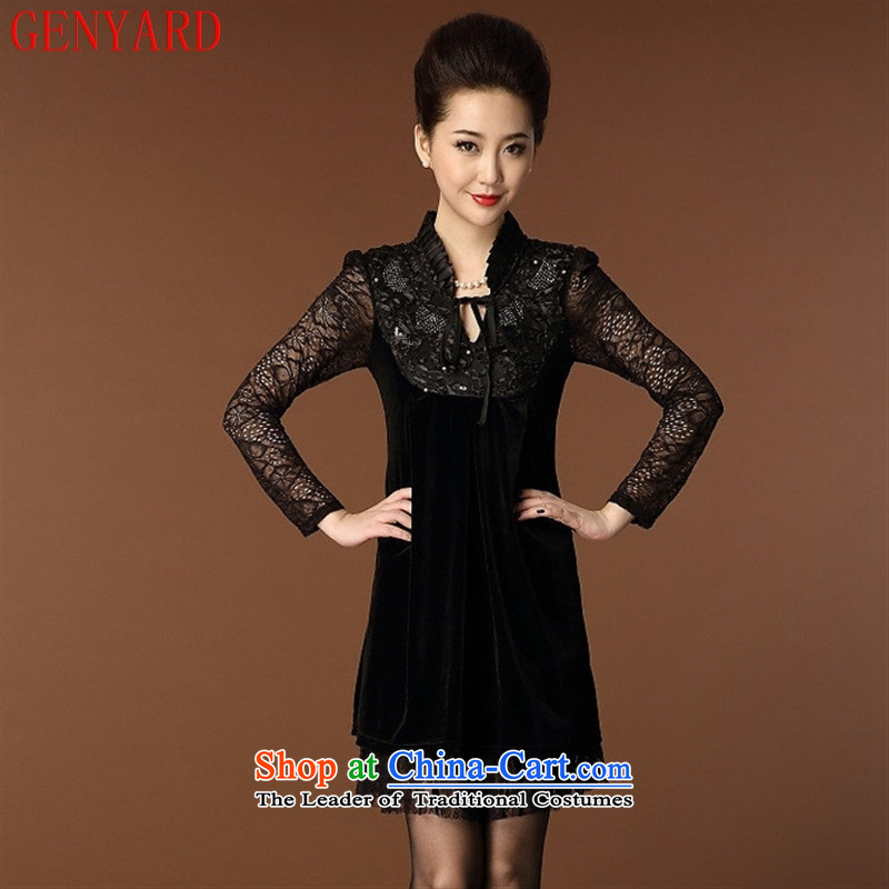 The fall of new, GENYARD2015 elderly Korean Kim scouring pads wear skirts engraving lace long-sleeved MOM pack black skirt聽M
