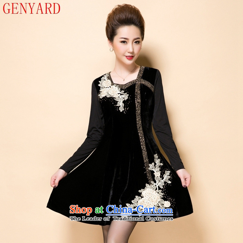 Load New GENYARD2015 autumn large load mother women in embroidery scouring pads elderly Kim dresses black large XXXL code