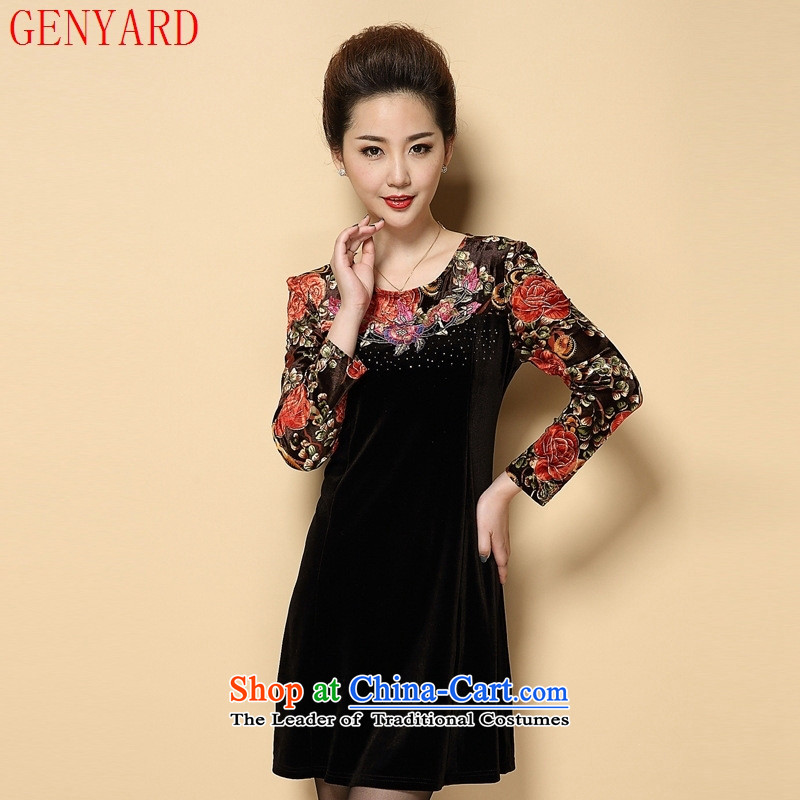 Load New GENYARD2015 autumn large middle-aged and older graphics thin Sau San long-sleeved velvet gold embroidery mother-pack Black Large XXL