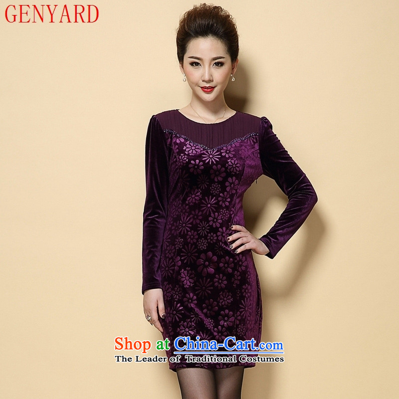 The fall in the new GENYARD2015 elderly mother decorated long-sleeved scouring pads in long Kim stamp dresses purple large XL