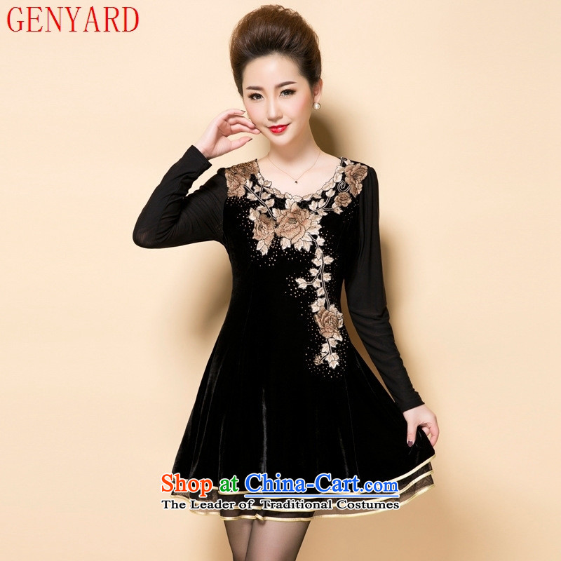Load New GENYARD2015 autumn MOM pack embroidery embroidery Korean temperament. Older Kim scouring pads long-sleeved black skirt聽2XL