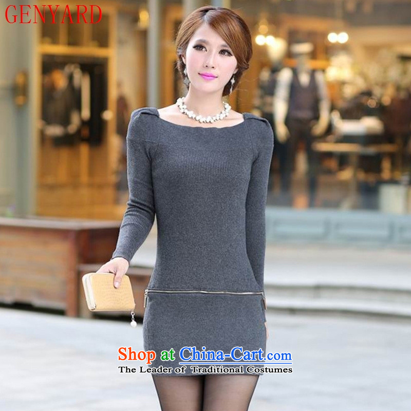 The new large spring and autumn GENYARD2015 new lady Knitted Shirt long-sleeved sweater, forming the dress code are black