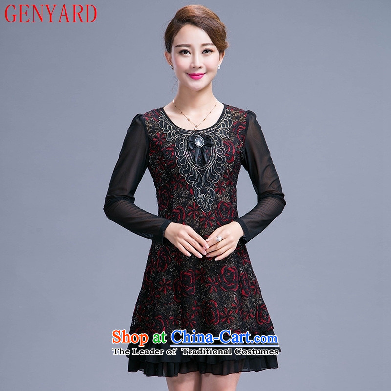 In the number of older women's GENYARD large middle-aged moms with autumn replacing dresses in the long years of long-sleeved red 40-50?L