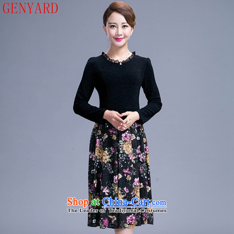 Load large autumn GENYARD2015 Korean version of Sau San older girl mothers who decorated temperament in the skirt long black?3XL