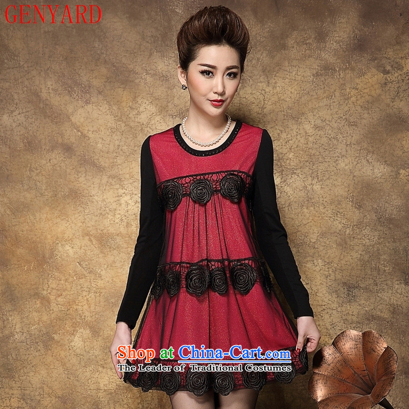 Load New GENYARD2015 autumn in both the mother of Korean version stamp in Sau San video thin Ms. Older long-sleeved dresses Red?4XL